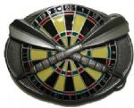 Darts and Dartboard Belt Buckle + display stand. Code FK5